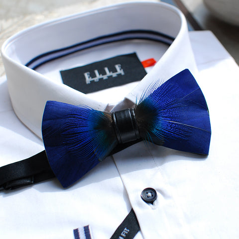Stylish Handmade Blue Feather Bowtie