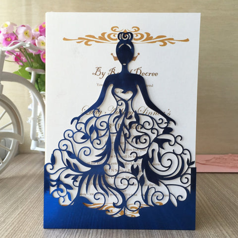 Whimsical Bride Laser Cut Wedding Invitations