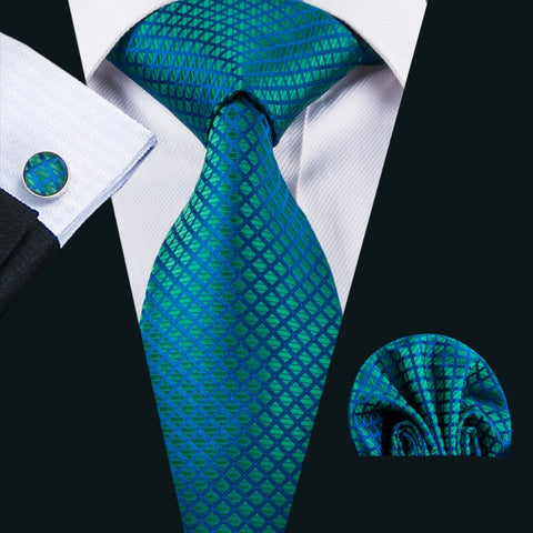 Silk Jacquard Woven Necktie, Handkerchief and Cufflinks Set