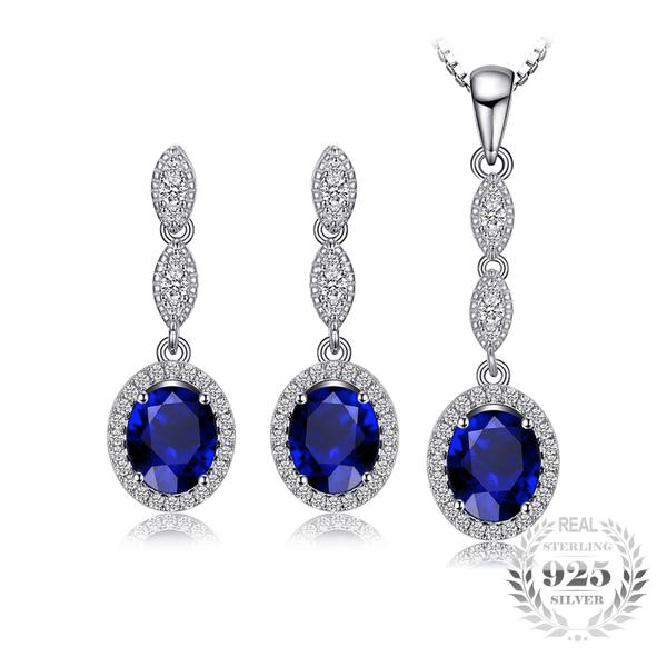 Sophisticated Sapphire Earrings and Necklace Jewelry Set