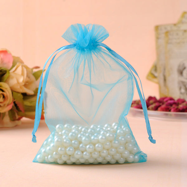 Light Blue Drawstring Gift Bags - 50 pcs