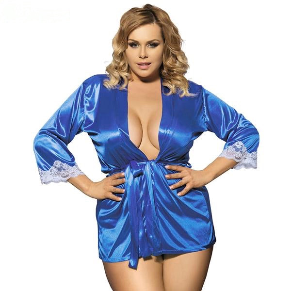 Plus Size Blue Satin and Lace Robe
