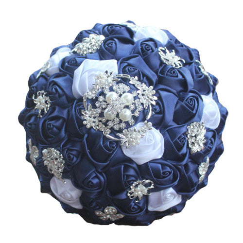 Diamonds and Pearls Navy Silk Bouquet