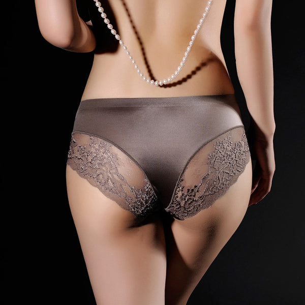 Satin and Lace Seamless Briefs