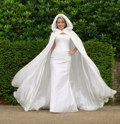 Frosty Fur Hooded Bridal Cloak