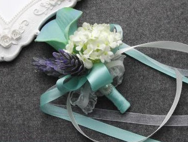 Tiffany Blue Artificial Calla Matching Flower Boutonniere and Corsage