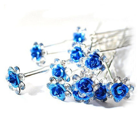 Royal Blue Rose Hair Pins - 10 pieces