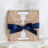 Luxurious Gold and Navy Laser Cut Invitations - Set of 50
