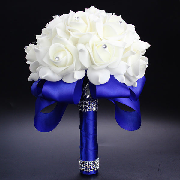 Fierce Blue White Rose Bouquet