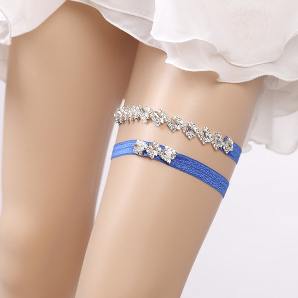 Thinly Chic Blue Bridal Garter Set