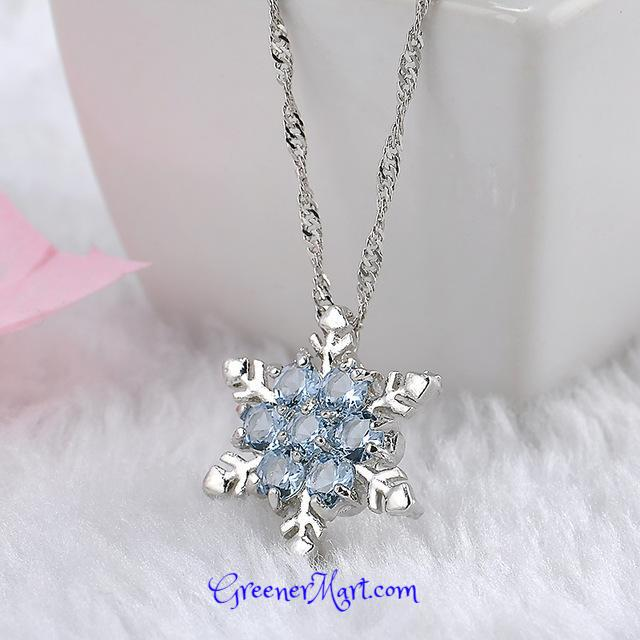 Blue Crystal Snowflake Necklace - GreenerMart