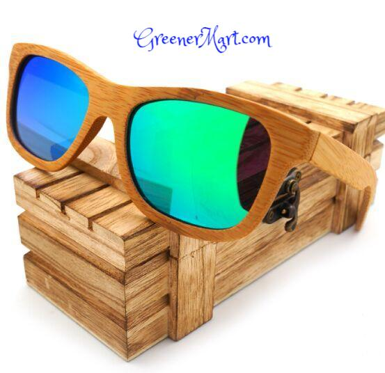 100% Natural Bamboo Wooden Sunglasses Handmade - GreenerMart