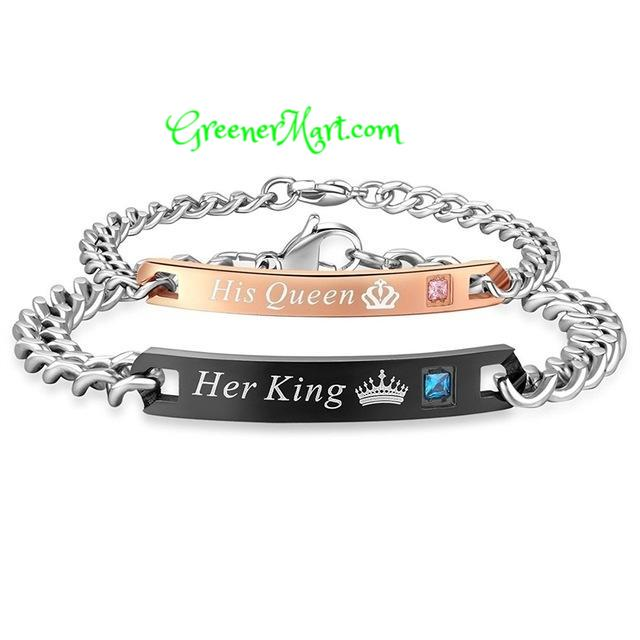 Her King - His Queen Couple Bracelet - GreenerMart