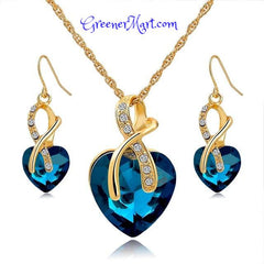 Gold Plated Crystal Heart Necklace & Earrings Set - GreenerMart