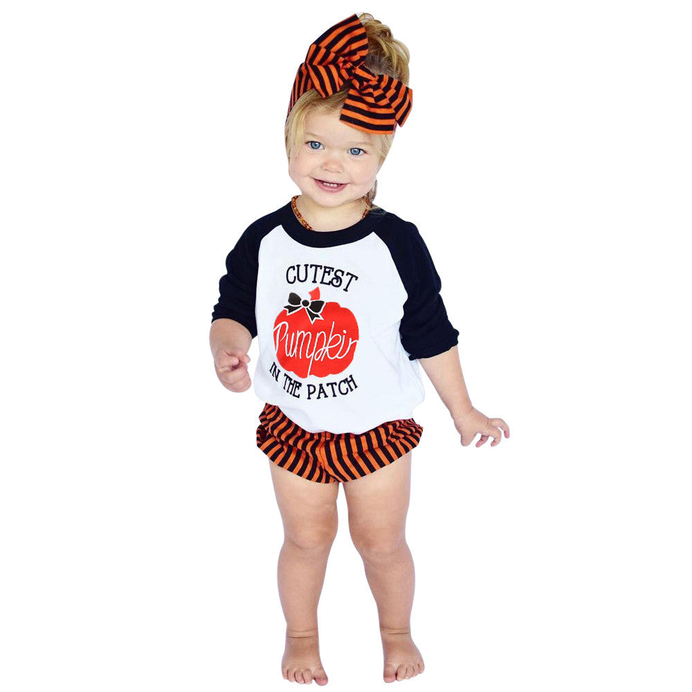 New Autumn Clothing Set for Boys or Girls 3PCS Outfits (Top/Pants/Headband) - GreenerMart