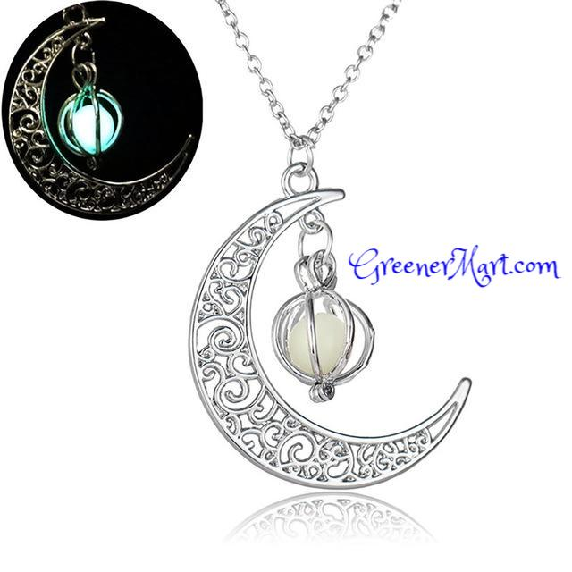 Crescent Moon Glow In The Dark Necklaces - GreenerMart