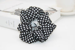 1PC Polka Dots Design Chiffon Fabric Hair Scrunchie  Ponytail Holder Hair Ties - GreenerMart