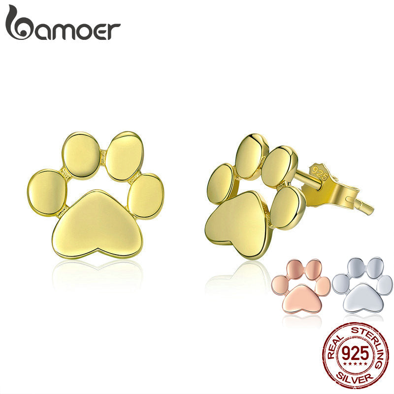 BAMOER 925 Sterling Silver Dog/Cat Footprints Stud Earrings in 3 Colors Gold Color Jewelry - GreenerMart