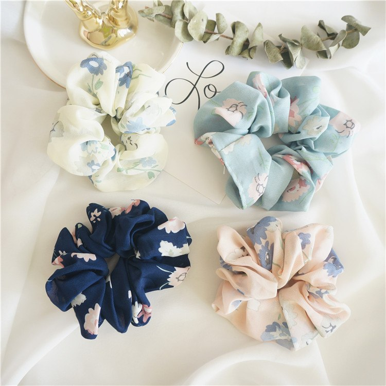 1pcs New Large Printed Hair Bows Scrunchies Silk Ponytail Elastic Holder Hair Accessories - GreenerMart