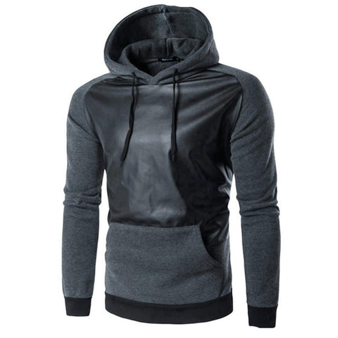 Men Retro Long Sleeve Hoodie Cotton & Leather