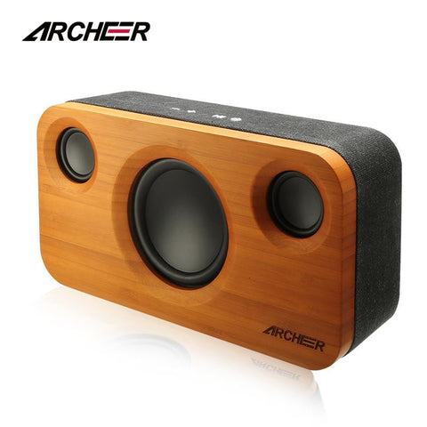 100% Bamboo Wooden Bluetooth Speakers with 2.1 Channel Sound