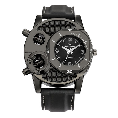 Modern Men's Driver's Watch with Exposed Bezel