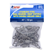 AFW - 10 Pack - Stainless Steel Ball Bearing Snap Swivels