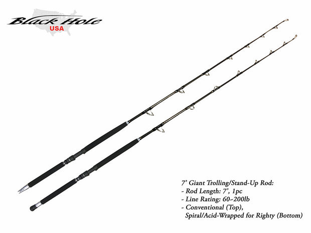 "Black Hole Cape Cod Special ""Giant"" 7'3"" Spiral Wrap Rod"