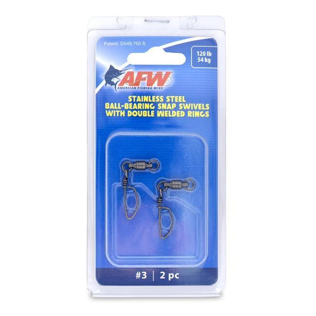AFW Stainless Steel Ball-Bearing Snap Swivels with Double Welded Rings - Fish & Tackle