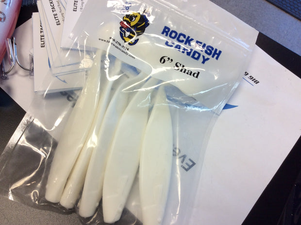 "Rock Fish Candy - 6"" Shad Bodies (5 pack)"