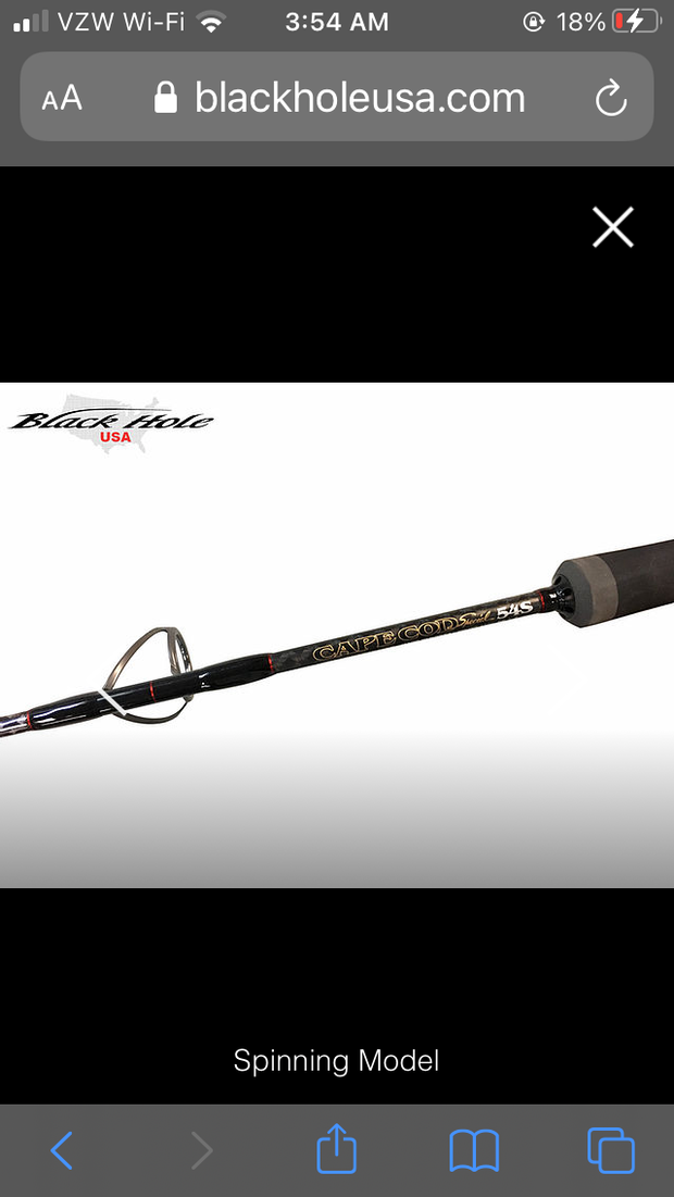"Black Hole Cape Cod Special ""BIG GAME"" Spinning Rod"