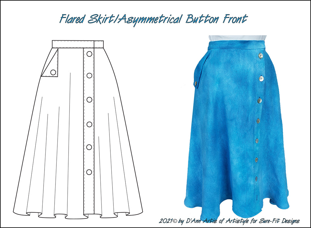 Flared Skirt - Asymmetrical Button Front