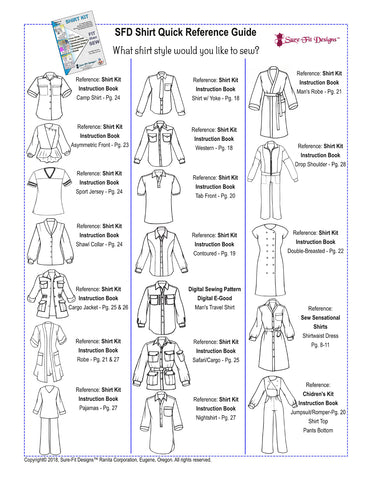 Sure-Fit Designs Shirt Styles Quick Reference Guide