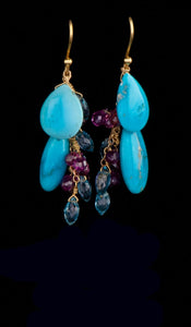 Turquoise and Gem Earrings TE-300