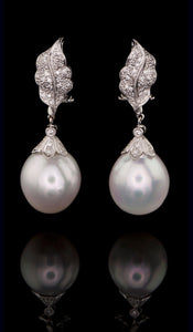 Leaf Design Pearl Earrings PE-300