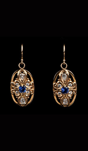 Gold and Sapphire Earrings SE-300