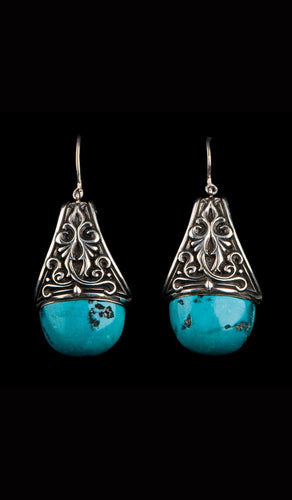 Turquoise and Silver Earrings TE-303