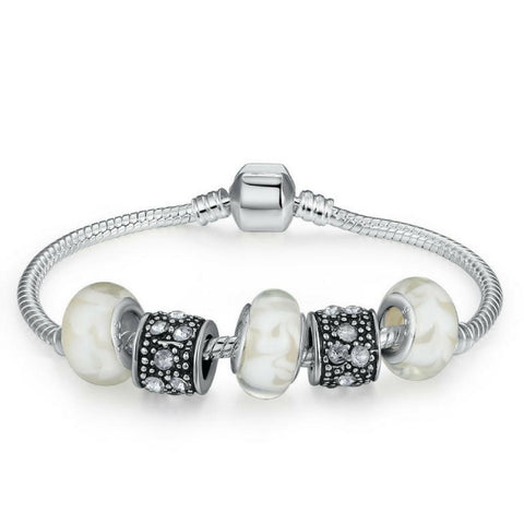 Silver Charm Bracelet With White Murano Glass