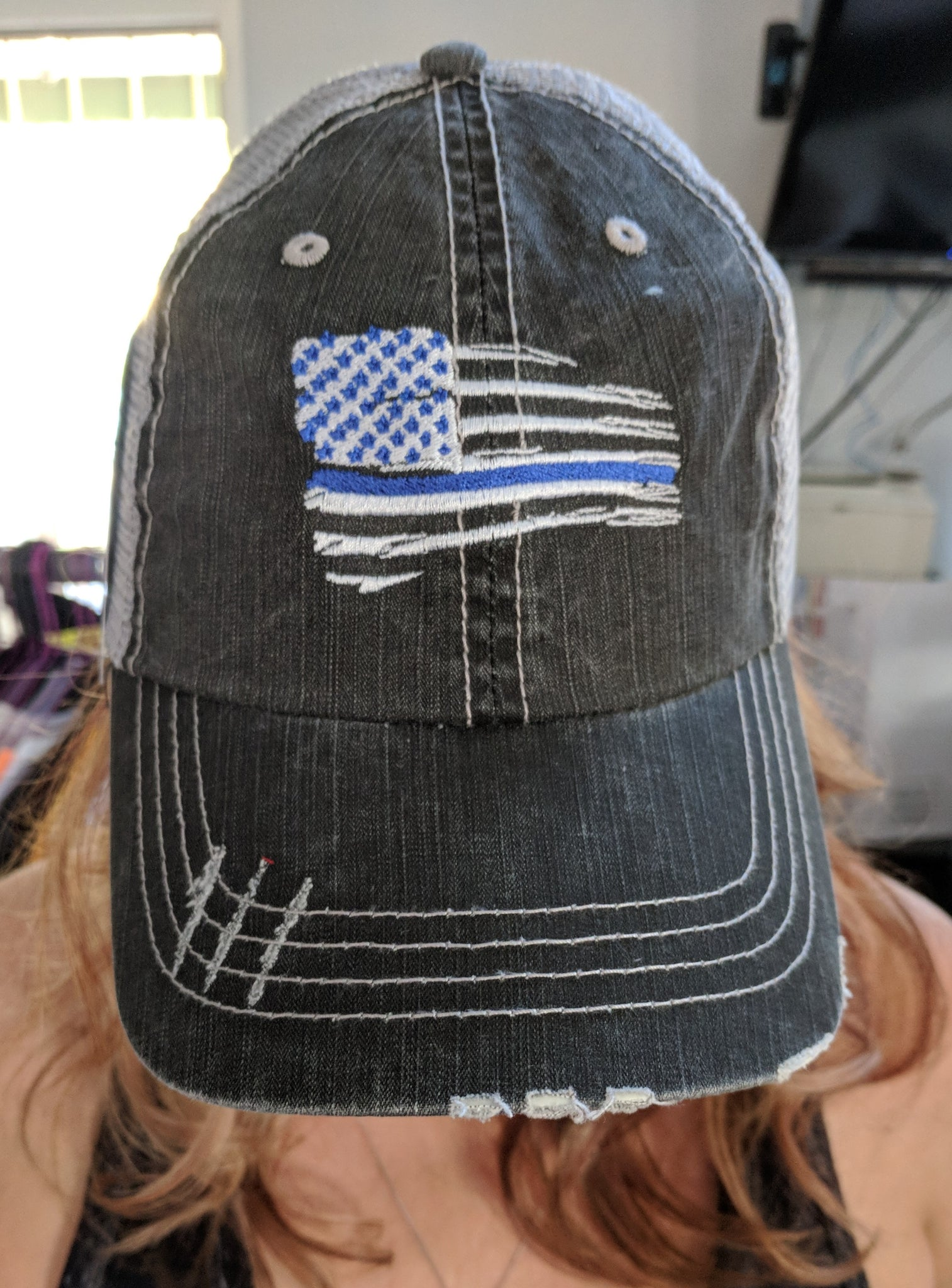 Tattered American Flag Thin Blue Line * Back the Blue *