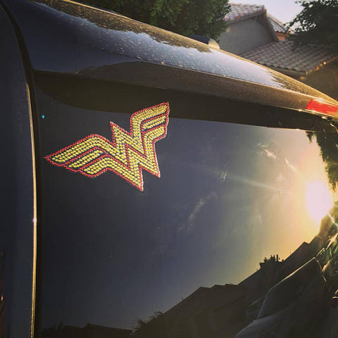 "Wonder Woman Bling Rhinestone Car Decal 8"" x 3 1/2"""
