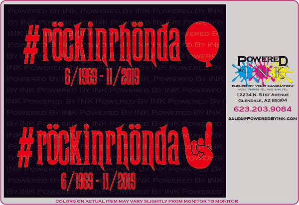 Rockin Rhonda window decals