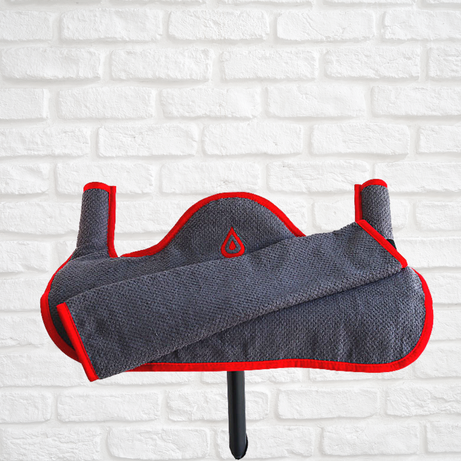 grey and red spintowel for use with peloton
