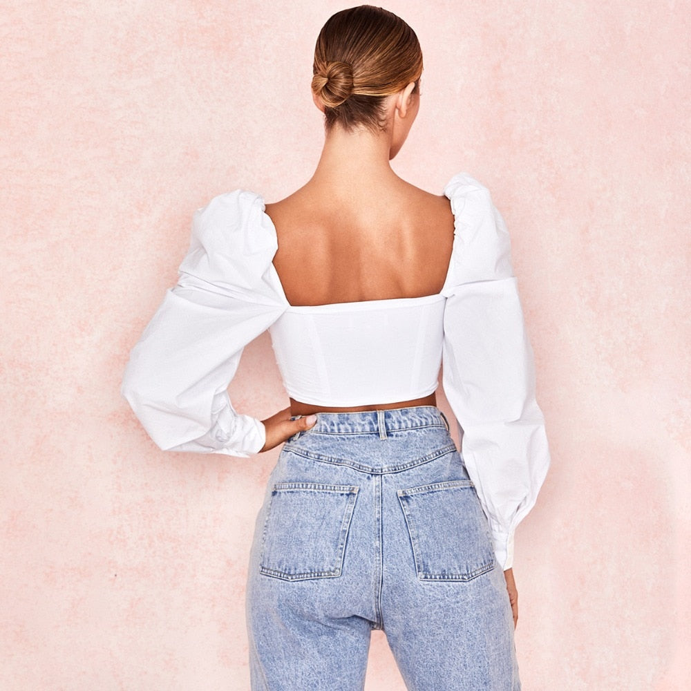 Body Blusa Crop Top Escote Corset