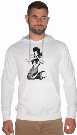 Mens/Unisex Pin-Up Mermaid French Terry Fleece Hoodie