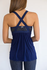 Bump to Baby Maternity Navy Yoga Tank w/Built in Nursing Bra