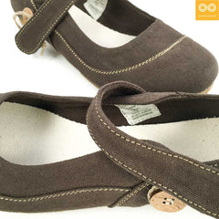 Ladies' Stuttgart Organic Cotton Ballet Flats (Ankle Straps) (Natural Rubber Sole)