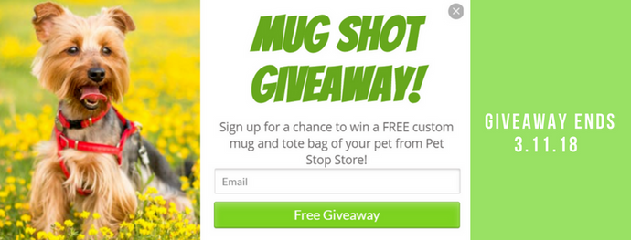 Subscribe & Enter to Win Pet Stop Store's MUG SHOT Giveaway