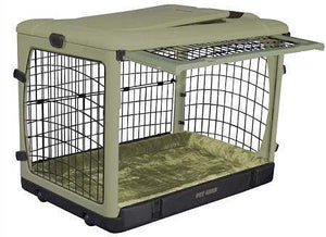 Pet Gear Deluxe Steel Dog Crate With Bolster Pad  - Large-sage