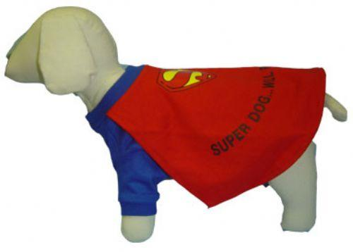Fun & Cute Red & Blue Super Dog Halloween Costume with Cape