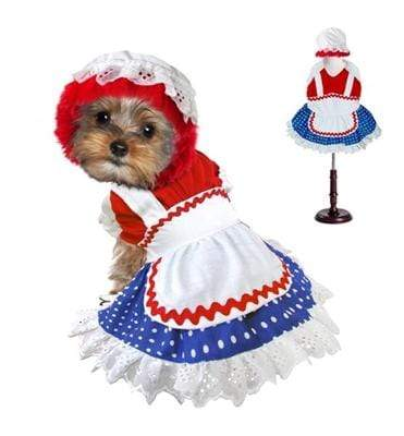 Halloween Ragdoll Girl Red, White & Blue Dog Dress Costume